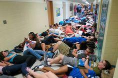 Sleep in the Hallway - 20 Best Senior Prank Ideas, http://hative.com/best-senior-prank-ideas/,