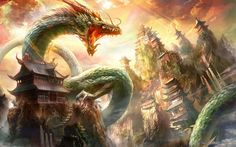 wyrm and temple on mountain digital wallpaper fantasy art Chinese architecture chinese dragon Epic Wallpaper, Oriental Wallpaper, Scenery Wallpaper, Chinese Wallpaper, Painted Wallpaper, City Wallpaper, Wallpaper Wallpapers, Japanese Dragon, Chinese Dragon