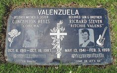 On Saturday, February Ritchie Valens' body was taken from the Noble Chapel Funeral Home in the San Fernando Valley to San Fernando Mission Cemetery.~~~ Where most of mi familia is buried Cemetery Headstones, Old Cemeteries, Cemetery Art, Graveyards, Cemetery Records, Cemetery Monuments, Unusual Headstones, Famous Tombstones, Post Mortem