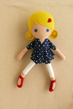 Fabric Doll Rag Doll Blond Haired Girl in Navy by rovingovine