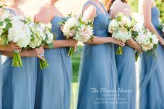 Bridesmaid bouquets with white peonies, rusty miller, lisi, olive, and eucalyptus