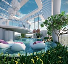 There is a little bit of an odd quality to the architecture, but I like the balcony/patio thing and the floaty things in the pool. Future House, Luxury Pools, Luxury Condo, Luxury Houses, Beautiful Pools, Dream Pools, House Goals, Pool Designs, My Dream Home