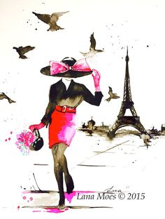 This listing is for my new art prints from previously sold original watercolor painting inspired by my forever love with Paris, fashion and fluidity of memories