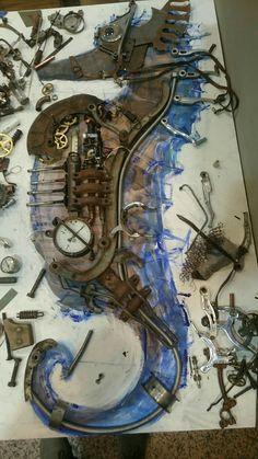 Seahorse work in progress design by Art studio Dada Found Object Art, Art Object, Fish Sculpture, Sculptures, Steampunk Robots, Spoon Art, Prophetic Art, Junk Art, Seahorses