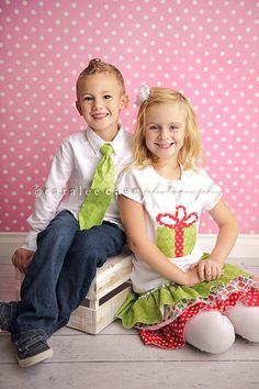 Matching Christmas outfits for boy and girl