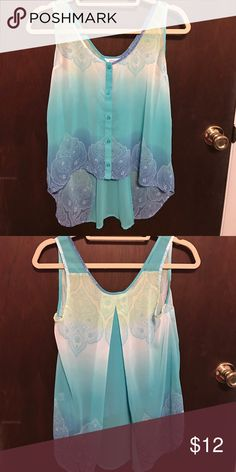 Blue Ombre Tank Top Sheer tank top that features a gorgeous blue ombre. Perfect for summer. Candie's Tops Tank Tops