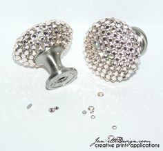 Silk Swarovski Crystal Bling Drawer Pulls by JanetteDesign on Etsy, $26.50