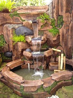 84 DIY Backyard Waterfall Ideas To Beautify Your Home Garden - bave huzan - Backyard Water Feature, Ponds Backyard, Backyard Landscaping, Garden Ponds, Garden Waterfall, Waterfall Fountain, Indoor Waterfall Wall, Fish Pond Gardens, Garden Water Fountains