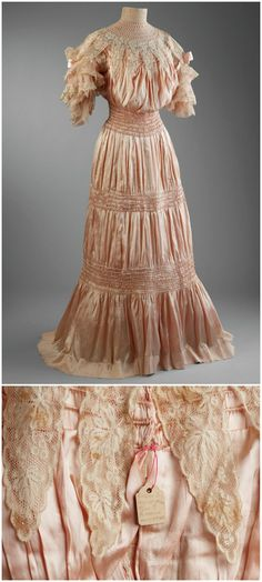 Edwardian afternoon gown worn by Marjorie Merriweather Post when she became engaged to Edward Close in 1903 (see tag attached to eye at back closure). Hillwood Estate, Museum & Gardens. Made from silk taffeta, silk organza, lace. CLICK THROUGH FOR BIGGER IMAGES.