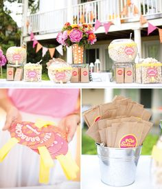 """Pop into Summer"" Bright Backyard Party with a Popcorn Bar!"