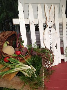 Rabbit picket fence with a welcome at the Jones Victorian Estate. Peter Rabbit themed baby shower