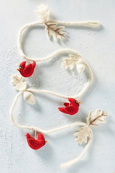 Felted Cardinal Garland #anthropologie