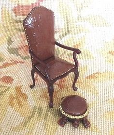 Chair Seat & Stool Ottoman 1:12 Dollhouse Miniature