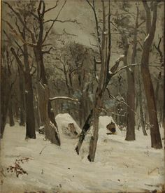The Winter, by Ion Andreescu, Romanian realist landscape artist, Andreescu was one of the founders of Romanian painting. He studied in Romania and Paris and instructed calligraphy in Buzau, Romania. Winter Season Images, Winter Images, Winter Illustration, Winter Painting, Art Database, Office Art, Christmas Art, Landscape Art, Winter