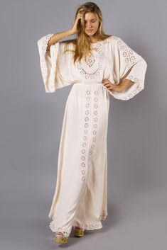 """""""I Believe In Unicorns - Maxi Dress"""" Women's embroidered maxi dress - blush Fillyboo - Boho inspired maternity clothes online, maternity dresses, maternity tops and maternity jeans."""