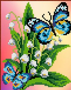 Hand Embroidery Flowers, Hand Embroidery Designs, Pony Bead Patterns, Beading Patterns, Plastic Canvas Crafts, Plastic Canvas Patterns, Cross Stitching, Cross Stitch Embroidery, Cross Stitch Designs
