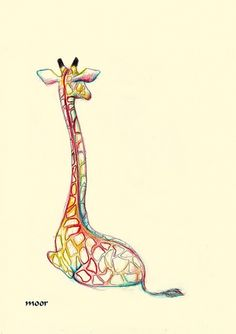 Giraffe - love the use of color. draw with pencil first then go over with pastels or pencil crayons.