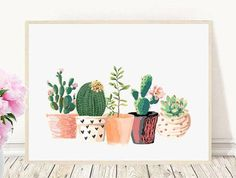 Cactus Print, Printable Art, Cactus Art, Home Decor, Potted Cactus, Watercolor, Succulents, Wall decor, Instant Download