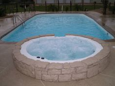Fiberglass pool with spa Spa Design, House Design, Fiberglass Pools, Small Pools, Rio Grande, Love Seat, Swimming Pools, Backyard Pools, Gallery