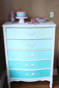 Beach blue ombré dresser