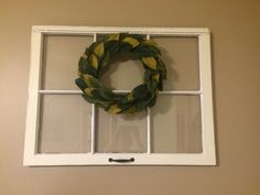 Vintage Window Pane with Magnolia Wreath