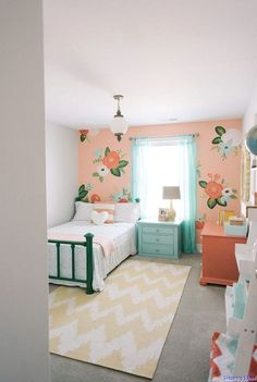 Girl's bedroom inspired by Rifle Paper Co. by Design Loves Detail (via House of Turquoise). Audrey's room with coral Girl Bedroom Designs, Bedroom Design, Room Inspiration, Toddler Bedrooms, Girls Bedroom, Bedroom Decor, Girl Room, Toddler Rooms, Girls Bedroom Furniture