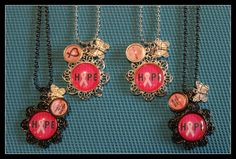 Breast Cancer Awareness Hope Necklace with Charms