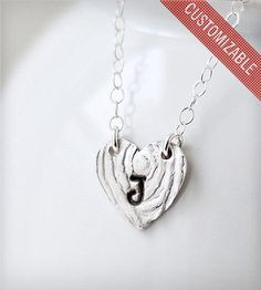 Initial Heart Necklace.. Love the wood grain