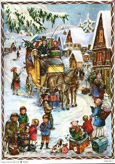 German Advent Calendar 2 - Life With Lorelai German Christmas, Antique Christmas, Vintage Christmas Cards, Christmas Art, Christmas Holidays, German Advent Calendar, Christmas Calendar, Advent Calander, St Nicholas Day