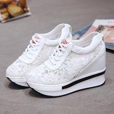 High Heel Sneakers, Lace Sneakers, Sneaker Heels, Sneakers Women, Shoes Women, White Wedge Sneakers, Wedding Sneakers, Ladies Shoes, Girls Shoes
