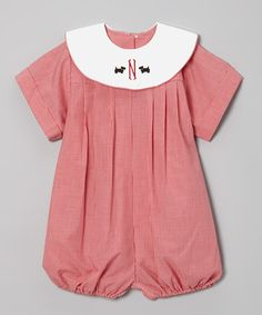 Take a look at this Red Gingham Initial Bubble Romper - Infant, Toddler & Boys by Wish Upon a Star on #zulily today!