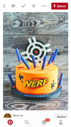 Planning a Nerf Birthday? My boy wants a Nerf War. I gathered a collection of the best Nerf Cupcake, Cake and Cookie ideas! Nerf Birthday Party, Birthday Cake Card, Nerf Party, 10th Birthday Parties, 8th Birthday, Birthday Ideas, 7th Birthday Cakes For Boys, Bolo Nerf, Arma Nerf