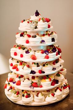 Mini meringue and pavlova Summer Wedding cake