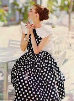 Polka Dot dress with oversized Peter Pan collar, fitted bodice, and very full skirt