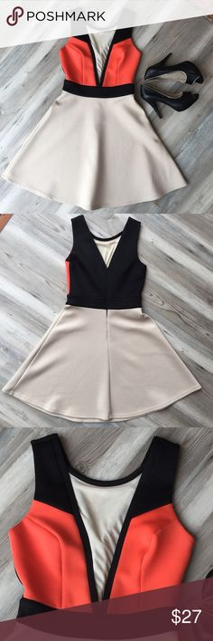 """Gianni Bini orange color block dress Cute GB orange, black & tan dress!  Size XS.  Waist measures 26"""", chest measures 30"""", and shoulder to hem measures 33""""!  Good condition, some small snags in the skirt (see pics).   A great dress with lots of wear left! Gianni Bini Dresses"""