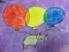 """If you had three giant balloons that could lift something LARGE up in the sky, what would you want to see floating through the sky? Kindergarten Colors, Kindergarten Art Lessons, Primary And Secondary Colors, Elements Of Color, 4th Grade Art, Virtual Art, First Art, Art Lesson Plans, Heart Art"