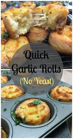 Quick garlic rolls with no yeast - a delicious combination of garlic & cheese