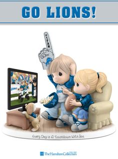 Score a touchdown with this officially-licensed Precious Moments Detroit Lions fan figurine! Featuring an adorable Precious Moments couple cheering on their favorite team, the Lions! Don't miss out on scoring this essential fan tribute: