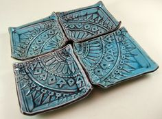 Decorative Plates in Turquoise Batik Stamp - Porcelain Dishes Set of 4 - Hand… Hand Built Pottery, Slab Pottery, Ceramic Pottery, Pottery Art, Pottery Studio, Clay Plates, Ceramic Plates, Decorative Plates, Used Tea Bags