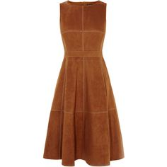 SUEDE FLARED DRESS ($425) ❤ liked on Polyvore featuring dresses, mid calf dresses, suede dress, suede midi dress, flare dress and calf length dresses