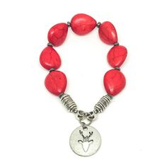 Red Teardrop Howlite Bracelet