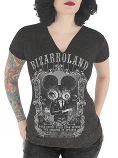 "Women's ""Bizarroland"" V-Neck Tee by Serpentine Clothing (Black)#inked #inkedmag #inkedgirls #bizarroland #vneck #blacktee"