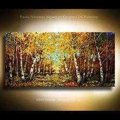 ORIGINAL Impressionist Birch Tree Painting Modern Gallery Quality Palette Knife Oil Painting from P. Nizamas Fine Art. $345.00, via Etsy.