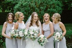 Bridesmaids Bouquets at Notley Abbey by Wild Orchid, photography by Natalie J Weddings Dessy Bridesmaid Dresses, Bridesmaid Bouquet, Bridesmaids, Pronovias Wedding Dress, Wedding Dresses, London Wedding, Wedding Looks, Elegant Dresses, Summer Wedding