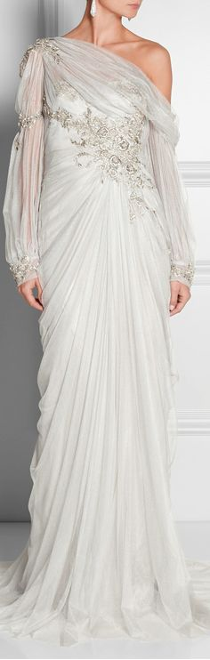 Marchesa ● Silver Embellished Gown