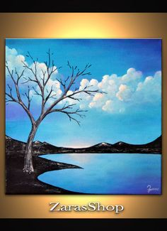 Tree painting blue landscape original abstract by ZarasShop