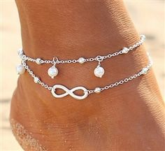 Fashion Women's Double Chain Anklet Bracelet Barefoot Sandal Beach Foot Jewelry Silver Ankle Bracelet, Foot Bracelet, Silver Anklets, Beaded Anklets, Anklet Bracelet, Gold Anklet, Women's Anklets, Wrist Bracelet Tattoo, Silver Jewelry