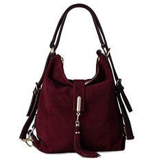 3336971f8e25 Nico Louise Women Genuine Suede Leather Purse Backpack Leisure Shoulder Bag  Casual Tassel Handbag Review