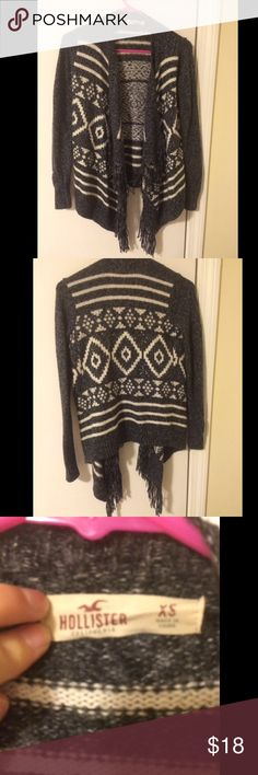 Hollister Gray Knit Aztec Print Cardigan This cardigan with tassels in the front is super cute and warm. Like new, wore only a few times. Hollister Sweaters Cardigans
