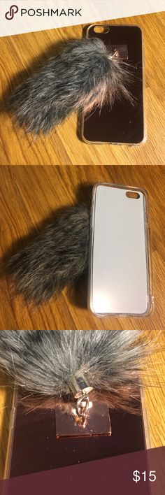 Fuzzy Tail Mirrored Rose Gold iPhone 6/6s Case Super cute rose gold mirror phone case for iPhone 6 or 6s with a gray fuzzy tail at the back. Too small for my phone but it's so soft, wish i could keep, box not included but never used. NOT UNIF MARKED FOR EXPOSURE UNIF Accessories Phone Cases